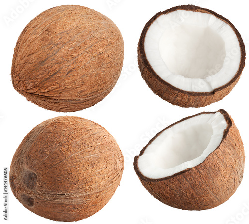 Isolated coconut collection. Whole and half of coconut isolated on white, with clipping path