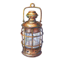 Illustration Of Ancient Ship Lantern. Hand Drawn Watercolor Painting On White Background.