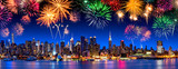 Fototapeta Nowy Jork - New York City Panorama mit Feuerwerk