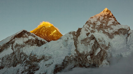 Obraz na Szkle Góry View to the Mount Everest and Nuptse on a sunset from Kala Patthar - Nepal, Himalayas