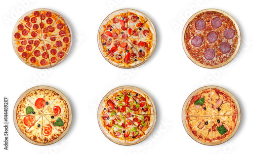 Foto op Plexiglas Pizzeria Six different pizza set for menu. Italian food traditional cuisine. Meat pizzas with mozzarella, salami, sausages, pepperoni and ham.