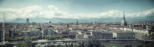 Panoramic view of Turin city center, in Italy, in a sunny day, with Mole Antonel Wallpaper Mural