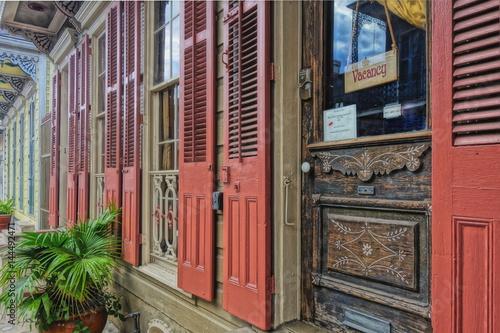 Deurstickers Illustratie Parijs Doors and shutters on a building in New Orleans.