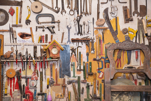 Tuinposter Egypte carpenter tools and chair restoration