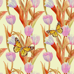 vintage seamless texture with lovely pink tulips and butterflies for your design. watercolor painting