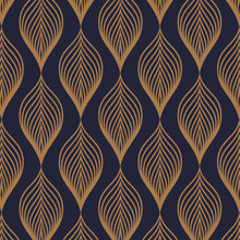 Vector Pattern. Abstract Stylish Background With Texture Of Abstract Gold Leaves. Stylized Holiday Garland. Pattern Is On Swatches Panel