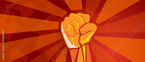 hand fist revolution symbol of resistance fight aggressive retro communism propa Canvas-taulu