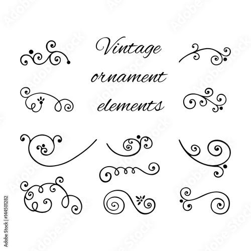 Antique Scroll Line: Victorian Swirly Ornaments Vector. Scroll Decorative