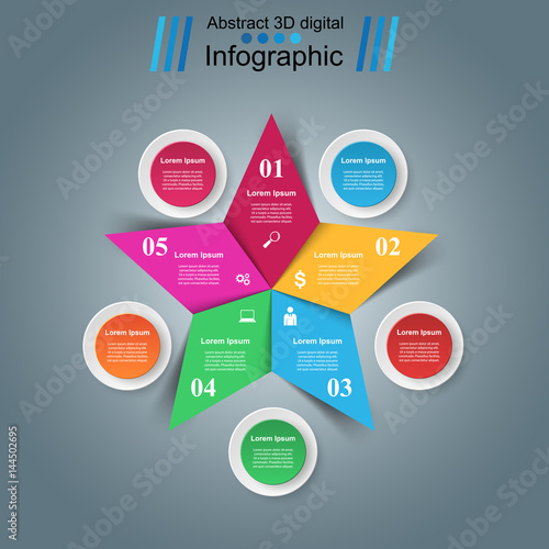 Star Infographics Origami Style Vector Illustration Buy This