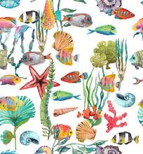 Watercolor Sea Life, Seaweed, Shell, Fish, Sea Horse, Beautiful Seamless Pattern
