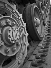 Cogs And Wheels In The Track Assembly Of A WW2 Tank.
