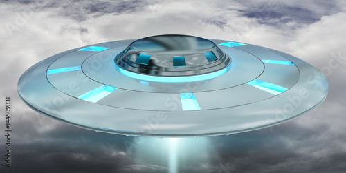 Poster UFO Vintage UFO flying on cloudy sky 3D rendering