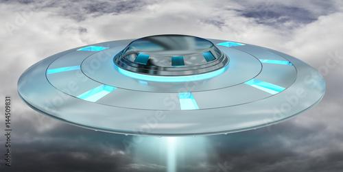 Garden Poster UFO Vintage UFO flying on cloudy sky 3D rendering