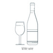 Vector illustration of alcoholic drinks in bottles and wine glasses on a white background. Line art.