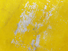 Yellow Abstract Background. Rust And Peeling Paint.