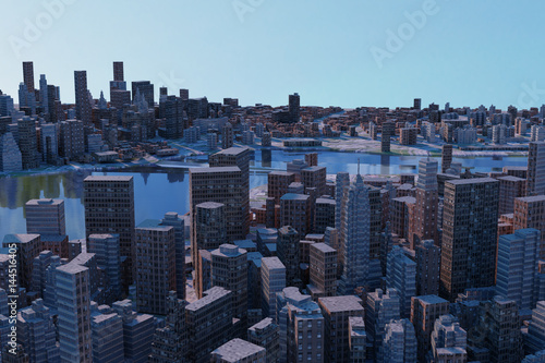 Canvas Prints New York 3D rendering of cityscapes with many tall buildings