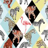 Patchworków tropikalni zwierzęta i ptasi multicolor tło - 144517428