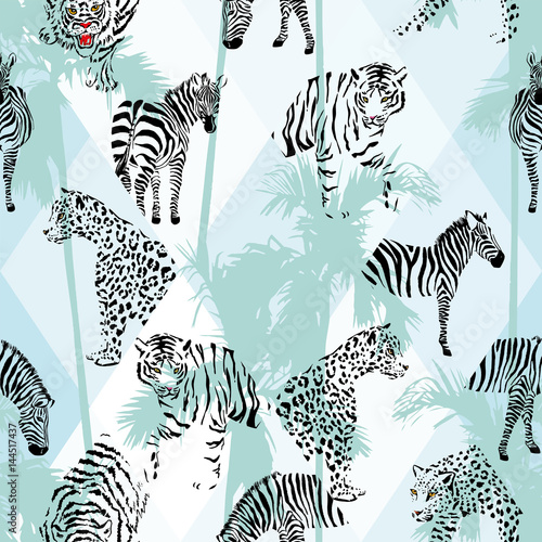 patchwork-tropical-black-color-animals-seamless-background