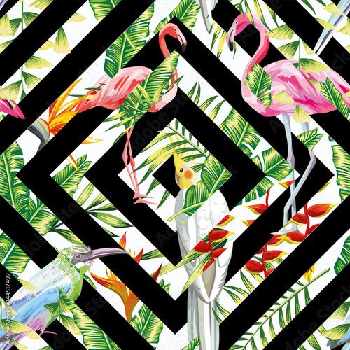 tropikalne-ptaki-na-geometrycznym-tle