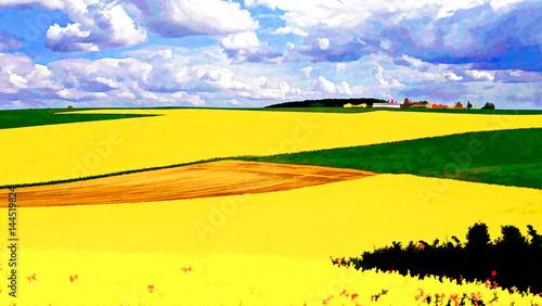 Papiers peints Jaune Champs de blé et de colza façon impressionnistes