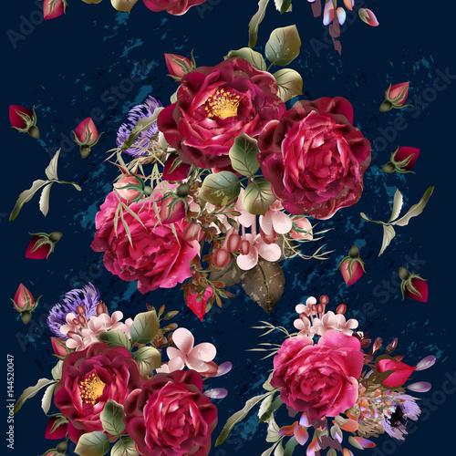 piekny-wzor-w-stylu-vintage-na-glebokim-niebieskim-tle-z-czerwona-roza
