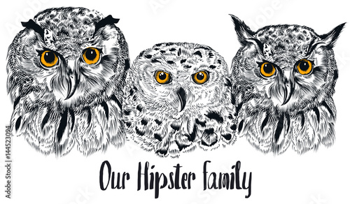 Poster Uilen cartoon Hipster fashion illustration with owl in hand drawn style. Our family