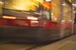 : Tramway blurred motion. Public transport night scene.
