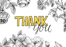 Vintage Floral Background With Thank You Inscription