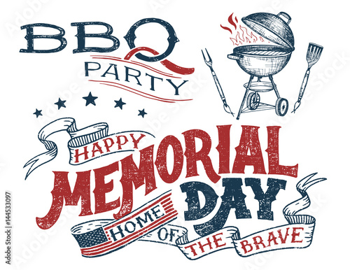 memorial day barbecue party greeting card hand lettering cookout