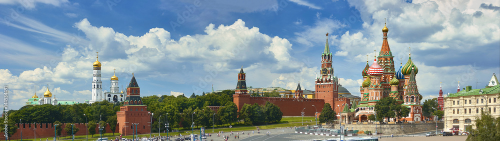 Fototapety, obrazy: Panoramic view on Moscow Red Square, Kremlin towers, stars and Clock Kuranti, Saint Basil's Cathedral church Ivan bell tower. Panorama from hotel Russia. Moscow holidays vacation tours Putin residence
