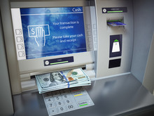 ATM Machine And Money. Withdra...