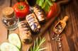 canvas print picture - Sheftalia - kebab with salad