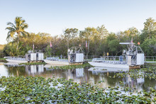 Airboats In The Everglades, Florida