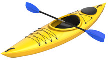 Yellow Plastic Kayak With Blue...
