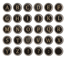 Set Of Old Typewriter Keys With Alphabet On It Isolated On White Background