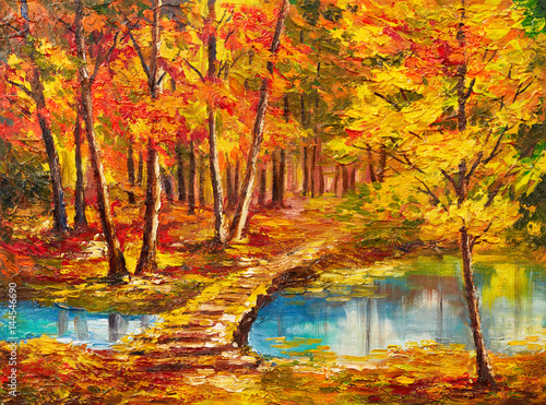 Plakaty do salonu  oil-painting-landscape-autumn-forest-near-the-river-orange-leaves