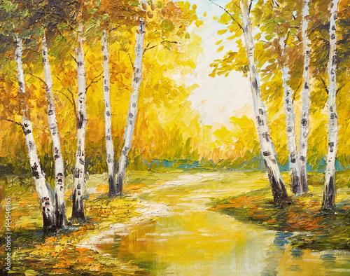 Obraz olejny krajobraz - jesień las blisko rzeki, pomarańcze opuszcza