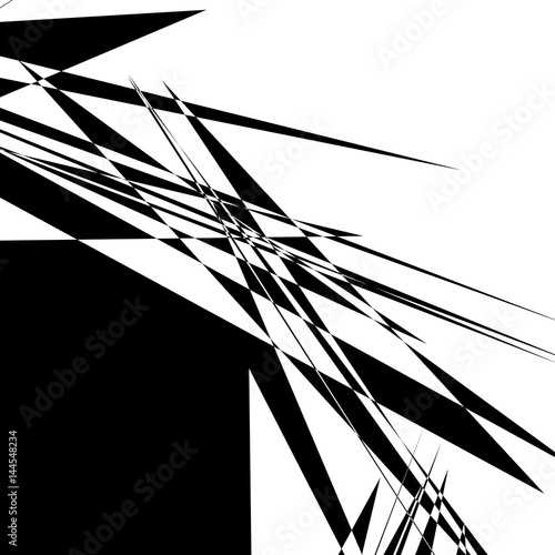 Rough, edgy geometric texture. Abstract black and white illustration Wall mural