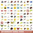 100 domestic animal icons set, flat style
