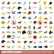 100 pets icons set, flat style