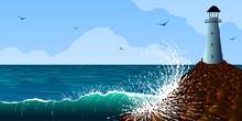 Vector Illustration. Lighthouse On A Rock Near The Ocean Shore.