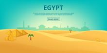 Egypt Landscape Horizontal Banner, Cartoon Style
