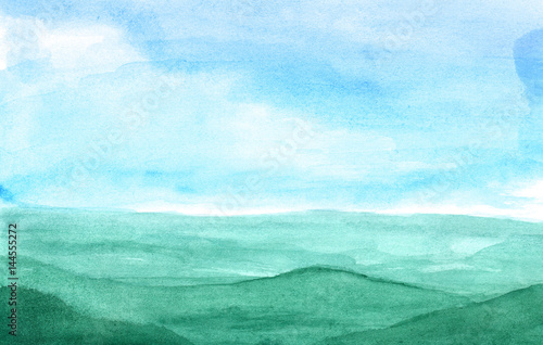 Printed kitchen splashbacks Light blue Mountains in the fog in watercolor