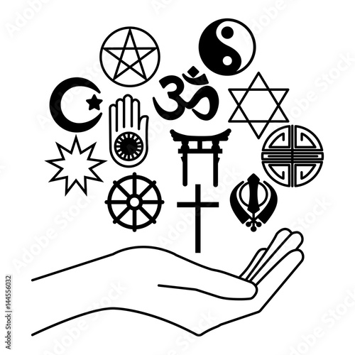 Hand With Combination Of Religious Symbols Symbols Of Major
