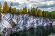 Ruskeala is a marble canyon. Marble quarry. Karelia.