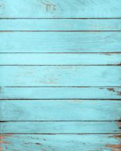 Vintage Blue Wood Background With Peeling Paint.