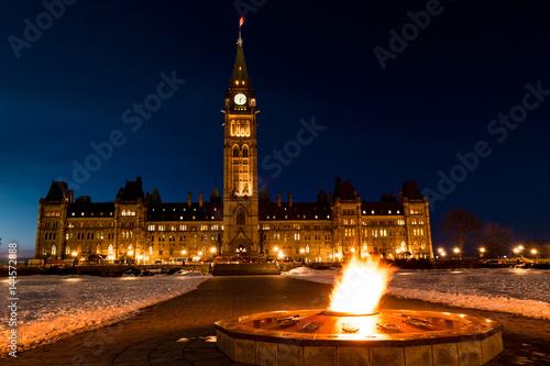Fotografia  Parliament of Canada in Ottawa Winter