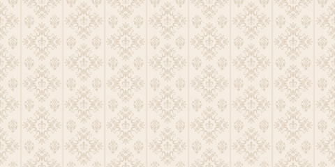 Decorative background in classic style, beige color, seamless pattern. Repeat...
