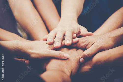 Fotomural Business teamwork join hands together. Business teamwork concept