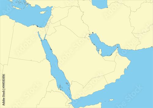 Vector map of Arabian peninsula or Arabia Canvas Print